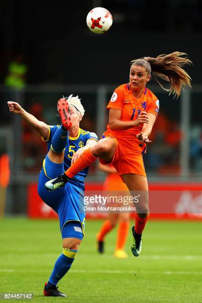 Lieke Martens of the Netherlands challenges Nilla Fischer of Sweden during the UEFA Women's Euro 2017 Quarter Final match between Netherlands and...
