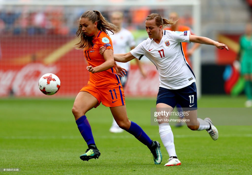 Lieke Martens of the Netherlands is tackled by Kristine Minde of Norway during the Group A match between Netherlands and Norway during the UEFA Women's Euro 2017 at Stadion Galgenwaard on July 16, 2017 in Utrecht, Netherlands.