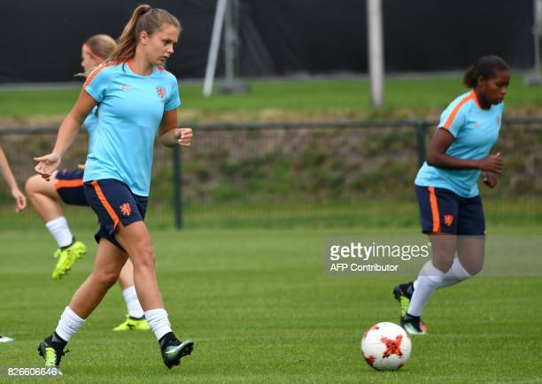 Lieke Martens of The Netherlands kicks the ball during a training session in the eve of the UEFA Women's Euro 2017 football tournament final match...
