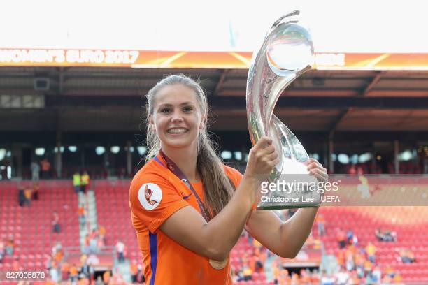 Lieke Martens of the Netherlands kisses the trophy following the Final of the UEFA Women's Euro 2017 between Netherlands v Denmark at FC Twente...