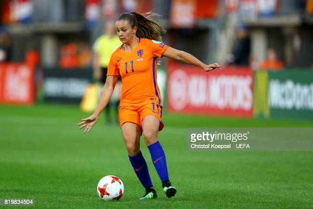 Lieke Martens of the Netherlands runs with the ball during the UEFA Women's Euro 2017 Group A match between Netherlands and Denmark at Sparta Stadion...