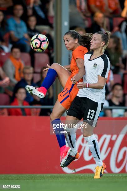 Lieke Martens of The Netherlands Virginia Kirchberger of Austriaduring the friendly match between the women of The Netherlands and Austria at at The...