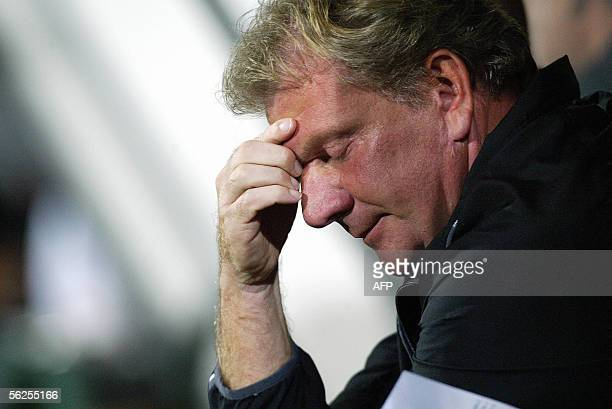 Lierse coach Paul Put rest his head on his hand during the Belgian first division league soccer match Lierse vs Cercle Brugge Saturday 29 October...
