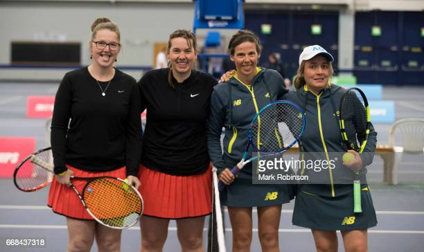 Lies Gielis and Hanne Lavreysen of Belgiumc and Kelly Wren and Carla Lenarduzzi of Australia before their Women's Doubles Final match at the INAS...
