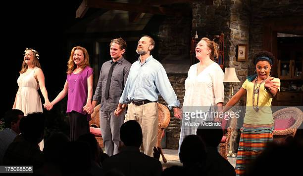 Liesel Allen Yeager Julie White Billy Magnussen David Hyde Pierce Kristine Nielsen and Shalita Grant during the curtain call for Julie White's debut...