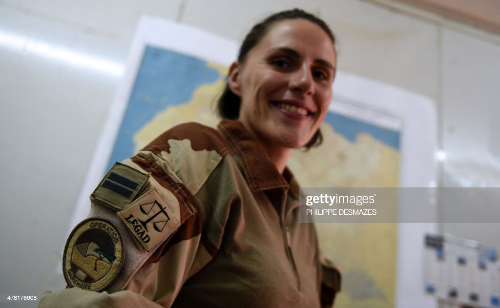 Lieutenant Anne legal advisor of the French contingent for the Operation Barkhane an antiterrorist operation in the Sahel poses on May 30 in the...