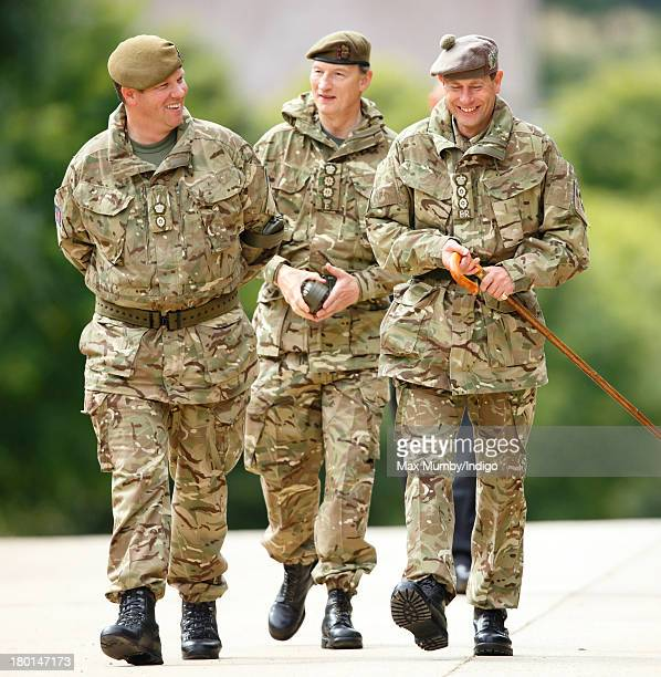 Lieutenant Colonel Rupert Pim accompanies Prince Edward Earl of Wessex in his role as Royal Colonel and his Equerry Alastair Bruce to watch Army...