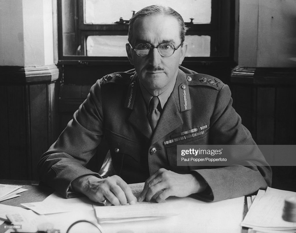 Lieutenant General Alan Brooke (1883 - 1963) at his desk in London shortly after his appointment to command United Kingdom Home Forces, giving him responsibility for Britain's anti-invasion preparations, 21st July 1940.