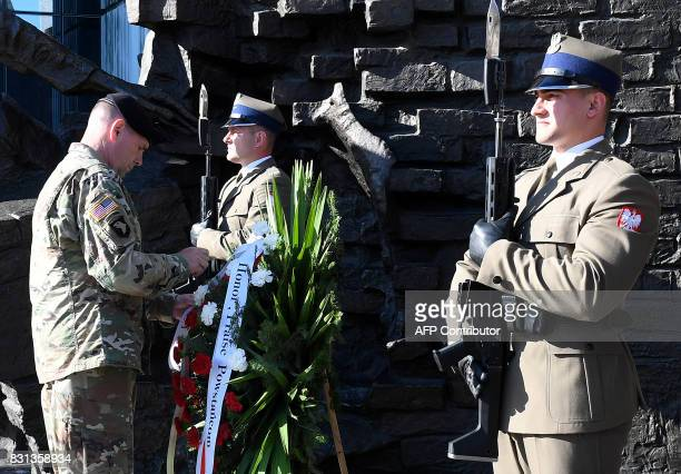 Lieutenant General Ben Hodges the US Army commander in Europe lays a wreath at Warsaw Uprising Monument on August 14 2017 in the Polish capital...