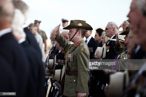 Lieutenant General David Morrison Chief of the Australian Army salutes during commemorations for the 70th anniversary of the Battle of El Alamein at...