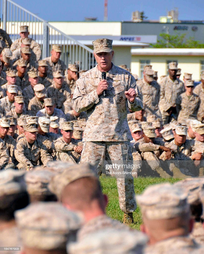 Lieutenant General Kenneth J. Glueck Jr addresses to sailors at Camp Foster as known as Camp Zukeran on October 25, 2012 in Ginowan, Okinawa, Japan. The relationship between the U.S. Marine Corps and Okinawa citizens have been deteriorated as two U.S. sailors had been arrested over the alleged rape of Japanese woman amid Okinawa people's strong protest against MV-22 Osprey deployment to the southern island.