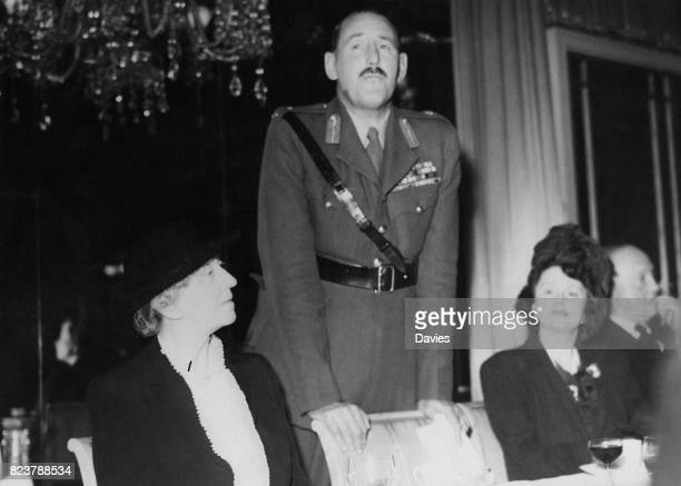 Lieutenant General Sir Oliver Leese of the British Army speaks at a luncheon at the Dorchester Hotel in London in honour of the British forces who...