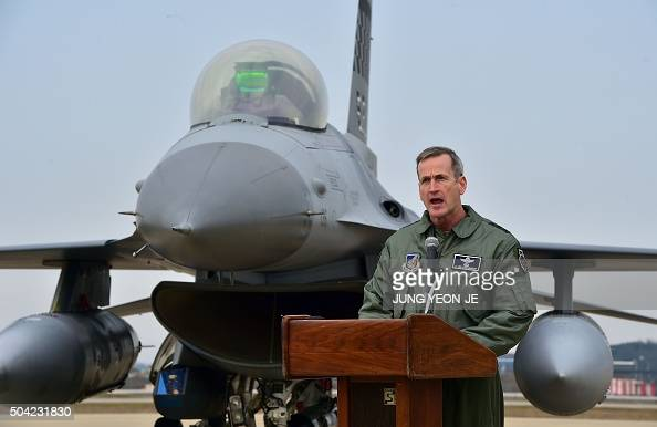 US Lieutenant General Terrence J O'Shaughnessy commander of the US 7th Air Force and Deputy Commander of the US Forces Korea speaks in front of a US...
