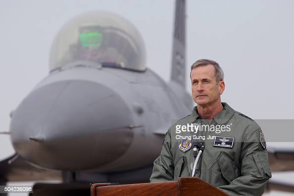 S Lieutenant General Terrence J O'Shaughnessy deputy Commander of the US Forces Korea speaks in front of a US F16 fighter jet during a press briefing...