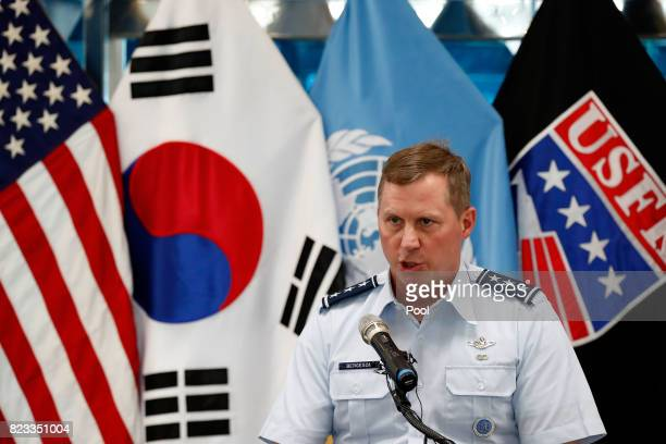 S Lieutenant General Thomas Bergeson deputy commander of the United Nations Command speaks during an event to commemorate the 64th Anniversary of the...