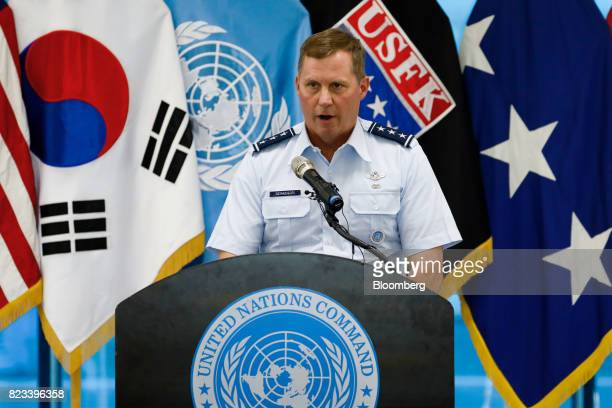 Lieutenant General Thomas Bergeson deputy commander of the US Forces Korea United Nations Command Korea and Combined Forces Command speaks during an...