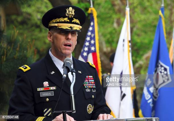 US Lieutenant General Thomas Vandal commander of the US Eighth Army speaks during the General Walker Monument Transition Ceremony at a US Army base...