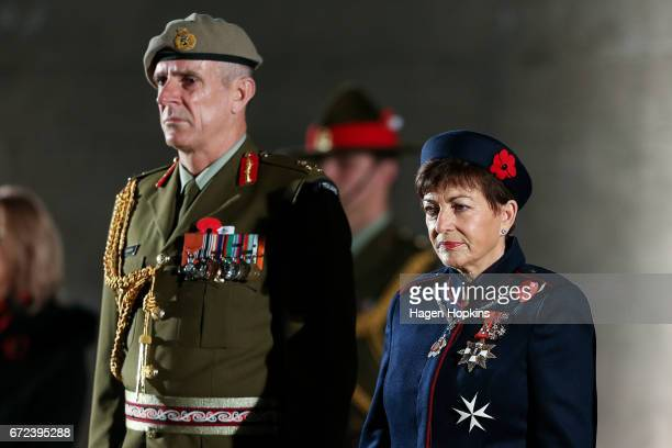 Lieutenant General Tim Keating and GovernorGeneral Dame Patsy Reddy look on during Anzac Day dawn service at Pukeahu National War Memorial Park on...