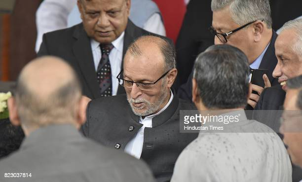 Lieutenant Governor of Delhi Anil Baijal after swearing in ceremony of the new president Ram Nath Kovind at Parliament House on July 25 2017 in New...