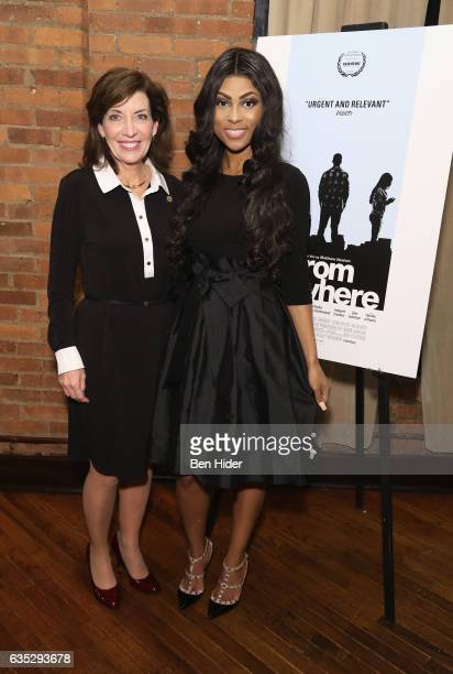 Lieutenant Governor of New York Kathy Hochul and guest attend the Special Screening Of FilmRise's 'From Nowhere' at Tribeca Screening Room on...