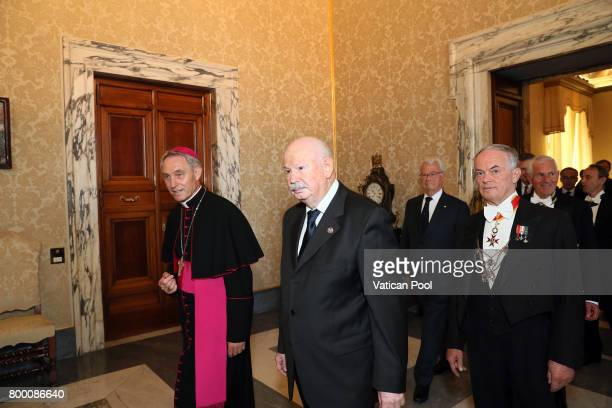 Lieutenant of Grand Master of The Sovereign Military Order Of Malta Fra Giacomo Dalla Torre del Tempio di Sanguinetto flanked by the prefect of the...