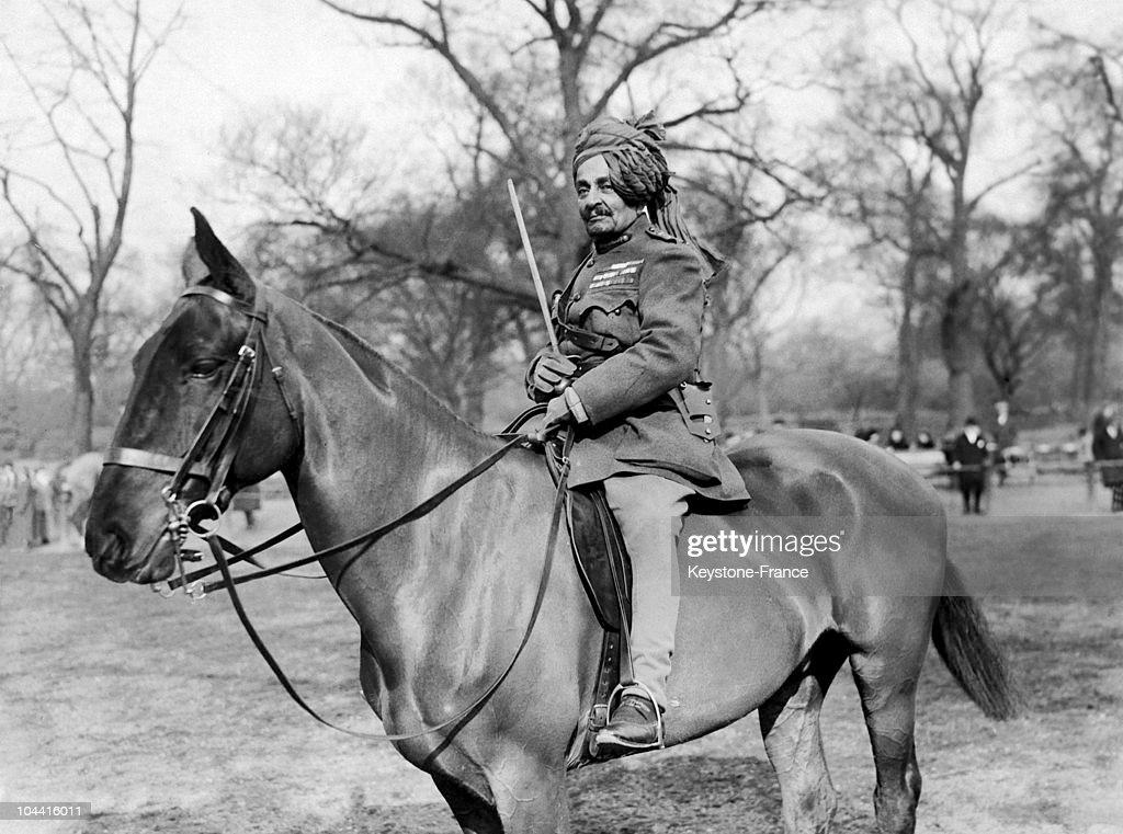 Lieutenant-General Sir Pertab Singh, Maharaja of Idar, posing on horseback, in England, circa 1918-1922.