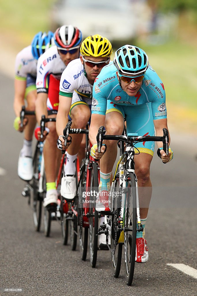 <a gi-track='captionPersonalityLinkClicked' href=/galleries/search?phrase=Lieuwe+Westra&family=editorial&specificpeople=7552180 ng-click='$event.stopPropagation()'>Lieuwe Westra</a> of the Netherlands and the Astana Pro Team leads a break-away group of cyclists during Stage 1 of the 2015 Santos Tour Down Under on January 20, 2015 in Adelaide, Australia.