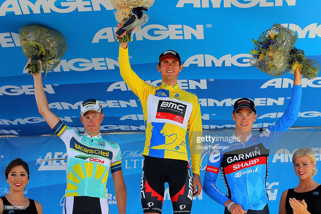 Lieuwe Westra of the Netherlands riding for Vacansoleil-DCM in second place, Tejay van Garderen of the USA riding for BMC Racing in first place and <a gi-track='captionPersonalityLinkClicked' href=/galleries/search?phrase=Rohan+Dennis&family=editorial&specificpeople=4872676 ng-click='$event.stopPropagation()'>Rohan Dennis</a> of Australia riding for Garmin-Sharp in third place take the podium for the Individual Time Trial during Stage Six of the 2013 Amgen Tour of California on May 17, 2013 in San Jose, California.