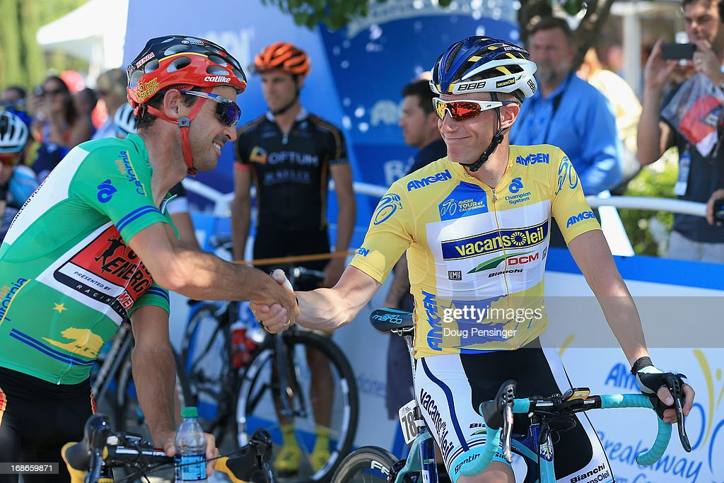 Lieuwe Westra (R) of the Netherlands riding for Vacansoleil-DCM Pro Cycling Team wears the yellow leaders jersey as he shakes hands with points leader Francisco Mancebo Perez of Spain riding for 5 Hour Energy p/b Kenda before the start of Stage Two of the 2013 Amgen Tour of California from Murrieta to Greater Palm Springs on May 13, 2013 in Murrieta, California.
