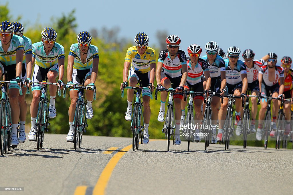 Lieuwe Westra of the Netherlands riding for Vacansoleil-DCM wears the yellow jersey as he rides in the peloton during Stage Two of the 2013 Amgen Tour of California from Murrieta to Palm Springs on May 13, 2013 in Murrieta, California.