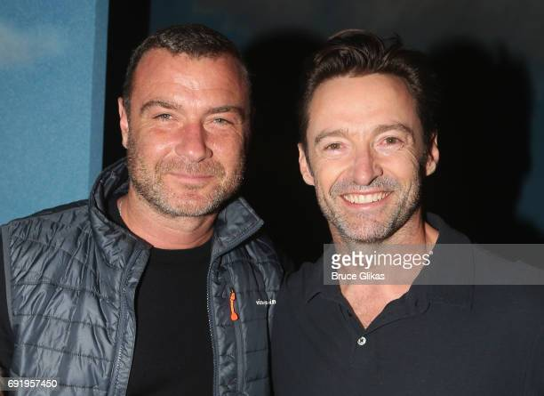 Liev Schreiber and Hugh Jackman pose backstage at the hit musical 'Charlie and the Chocolate Factory' on Broadway at The Lunt Fontanne Theatre on...