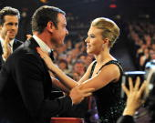 NEW YORK JUNE 13 Liev Schreiber and Scarlett Johansson in the audience at the 64th Annual Tony Awards at Radio City Music Hall on June 13 2010 in New...