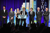Liev Schreiber Billy Crudup Rachel McAdams Mark Ruffalo Brian d'Arcy James John Slattery and Michael Keaton of 'Spotlight' attend the 25th Annual...