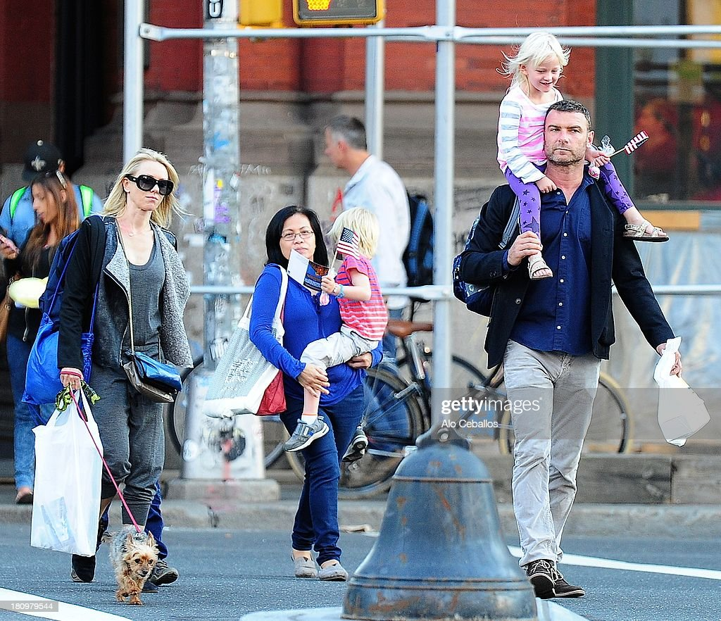 Liev Schreiber, Naomi Watts, Alexander Pete Schreiber and Samuel Kai Schreiber are seen in Soho on September 18, 2013 in New York City.