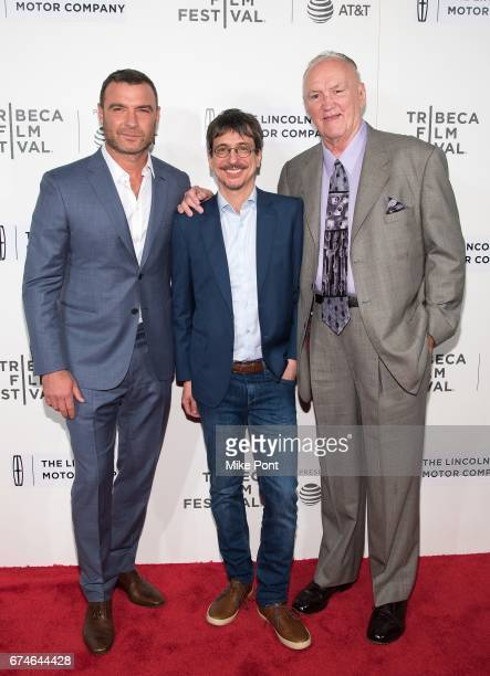 Liev Schreiber Philippe Falardeau and Chuck Wepner attend the 'Chuck' screening during the 2017 Tribeca Film Festival at BMCC Tribeca PAC on April 28...