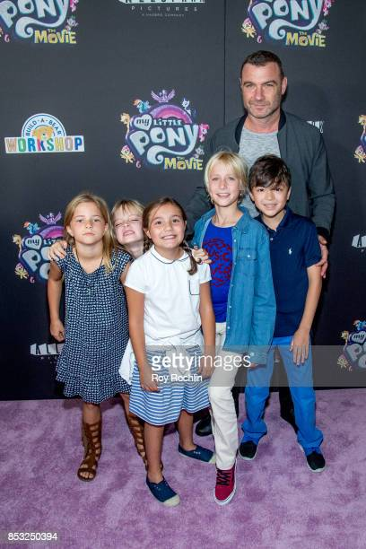 Liev Schreiber with Samuel Schreiber and Alexander Schreiber and friends attends 'My Little Pony The Movie' New York screening at AMC Lincoln Square...