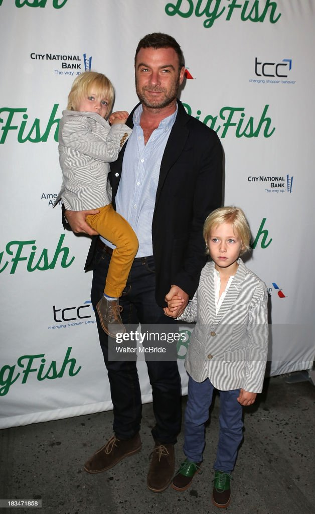 <a gi-track='captionPersonalityLinkClicked' href=/galleries/search?phrase=Liev+Schreiber&family=editorial&specificpeople=203259 ng-click='$event.stopPropagation()'>Liev Schreiber</a> with sons <a gi-track='captionPersonalityLinkClicked' href=/galleries/search?phrase=Samuel+Kai+Schreiber&family=editorial&specificpeople=5668021 ng-click='$event.stopPropagation()'>Samuel Kai Schreiber</a> and <a gi-track='captionPersonalityLinkClicked' href=/galleries/search?phrase=Alexander+Pete+Schreiber&family=editorial&specificpeople=4755168 ng-click='$event.stopPropagation()'>Alexander Pete Schreiber</a> attend the 'Big Fish' Broadway Opening Night at Neil Simon Theatre on October 6, 2013 in New York City.