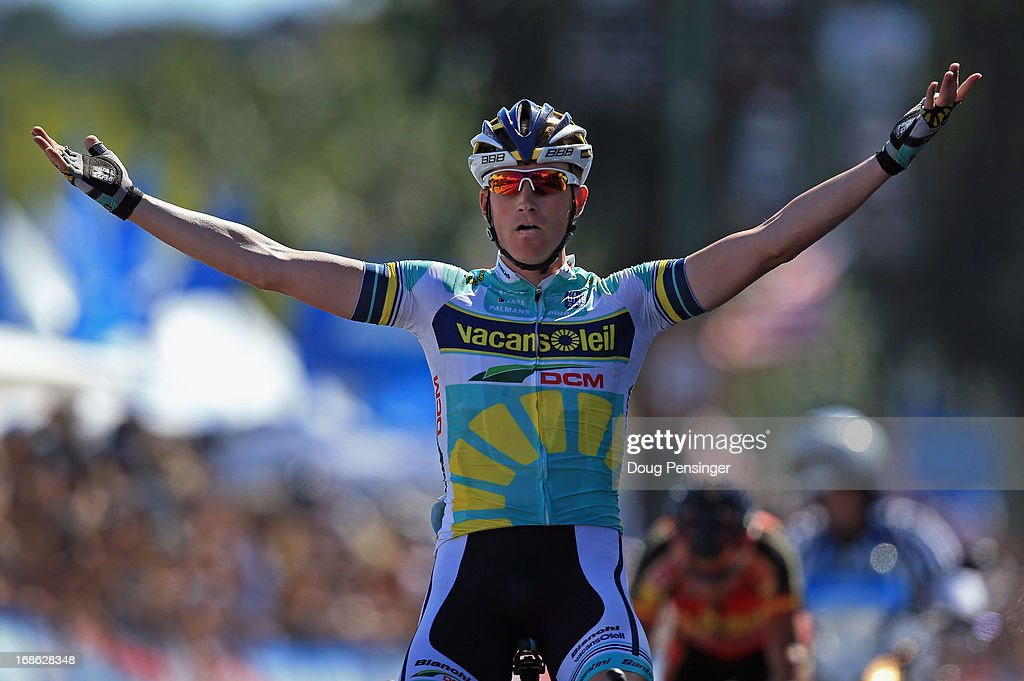 Liewe Westra of the Netherlands riding for Vacansoleil-DCM celebrates as he wins Stage One of the 2013 Amgen Tour of California from Escondido to Escondido on May 12, 2013 in Escondido, California.