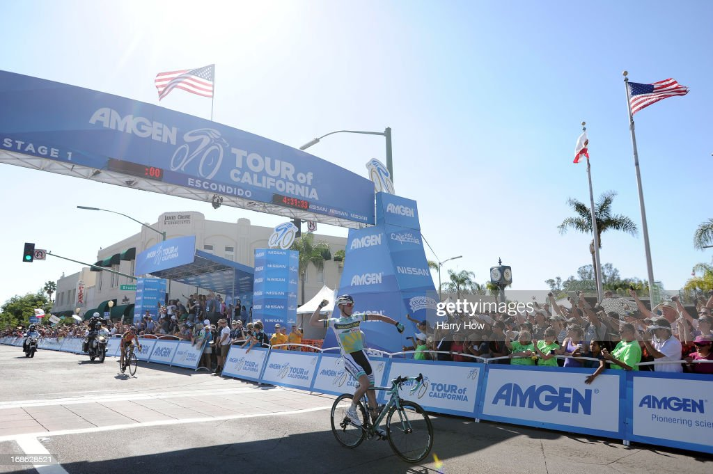 Liewe Westra of the Netherlands riding for Vacansoleil-DCM celebrates as crosses the finish line to win Stage One of the 2013 Amgen Tour of California from Escondido to Escondido on May 12, 2013 in Escondido, California.