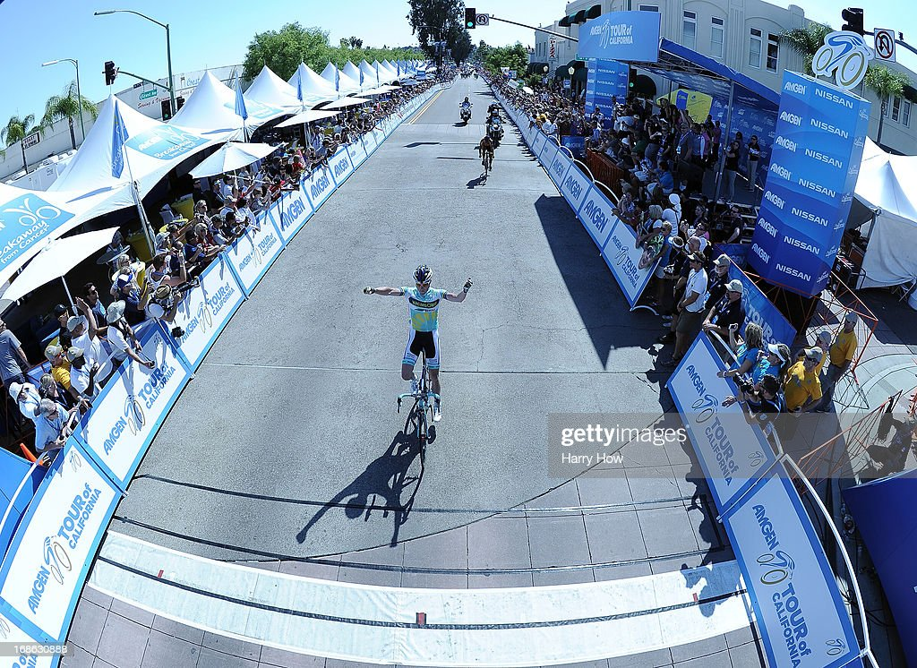 Liewe Westra of the Netherlands riding for Vacansoleil-DCM reacts as he approaches the finish line to win Stage 1 of the Amgen Tour of California in Escondido, California on May 12, 2013 in Los Angeles, United States.