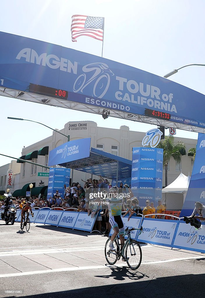 Liewe Westra of the Netherlands riding for Vacansoleil-DCM reacts as he crosses the finish line to win Stage 1 of the Amgen Tour of California on May 12, 2013 in Escondido, California.
