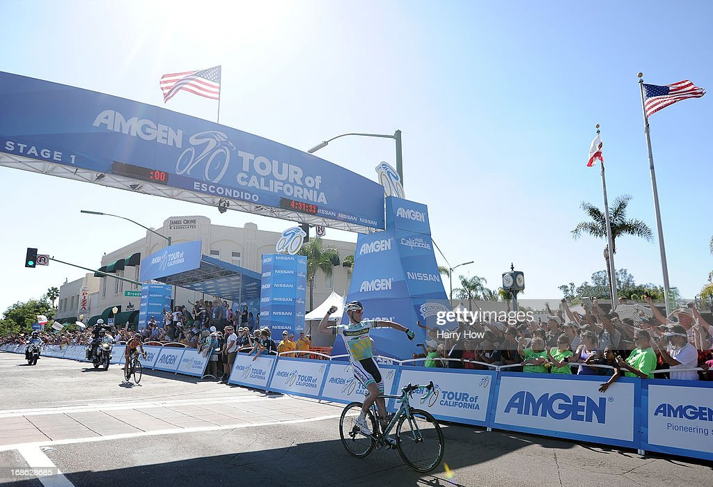 Liewe Westra of the Netherlands riding for Vacansoleil-DCM reacts after crossing the finish line to win Stage 1 of the Amgen Tour of California in Escondido, California on May 12, 2013 in Los Angeles, United States.