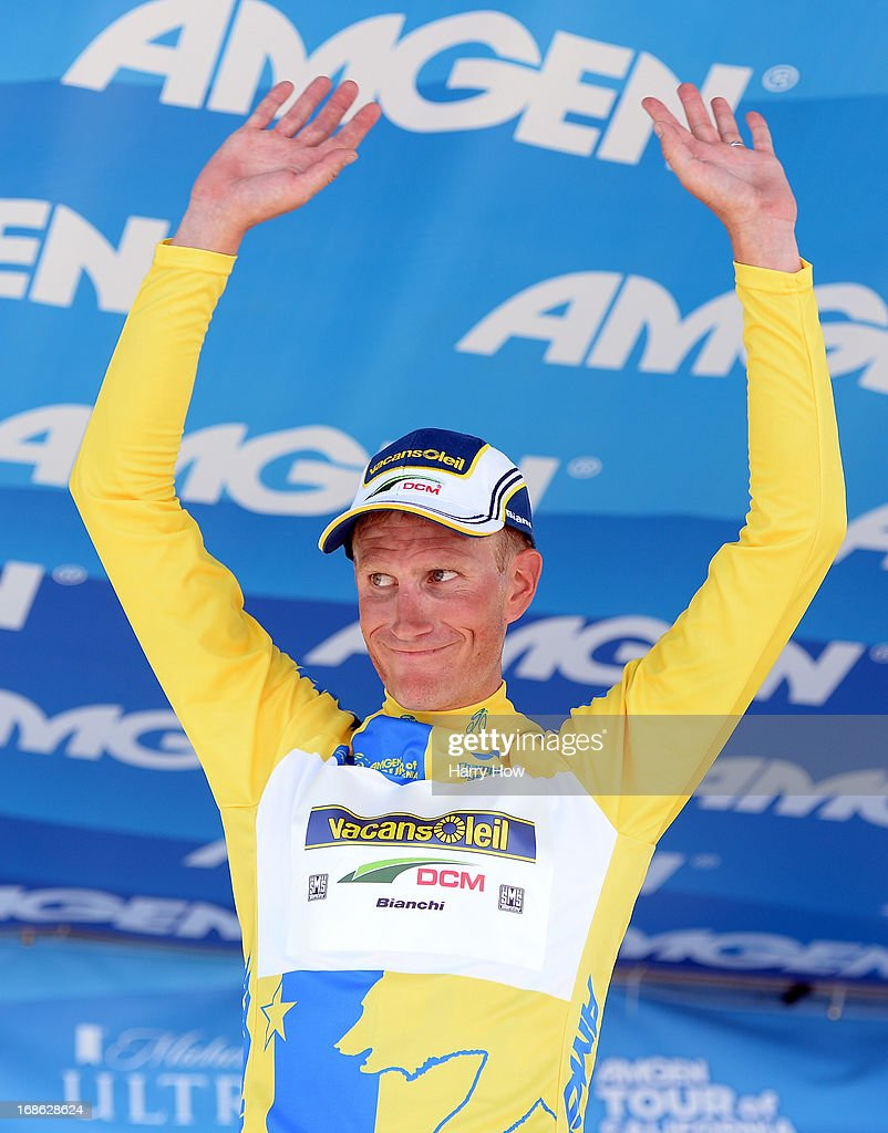 Liewe Westra of the Netherlands riding for Vacansoleil-DCM smiles as he wears the yellow jersey after a win of Stage 1 of the Amgen Tour of California in Escondido, California on May 12, 2013 in Los Angeles, United States.