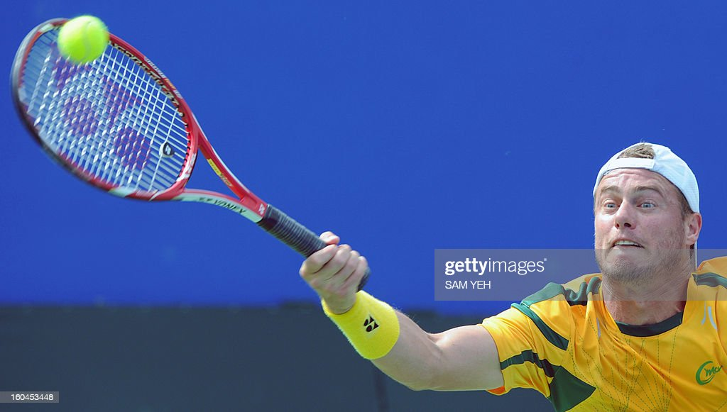 Lieyton Hewitt of Australia hits a return against Taiwan's Yang Tsung-hua during the Asia/Oceania Zone group 1 Davis Cup in Kaohsiung city in southern Taiwan on February 1, 2013. AFP PHOTO / Sam Yeh