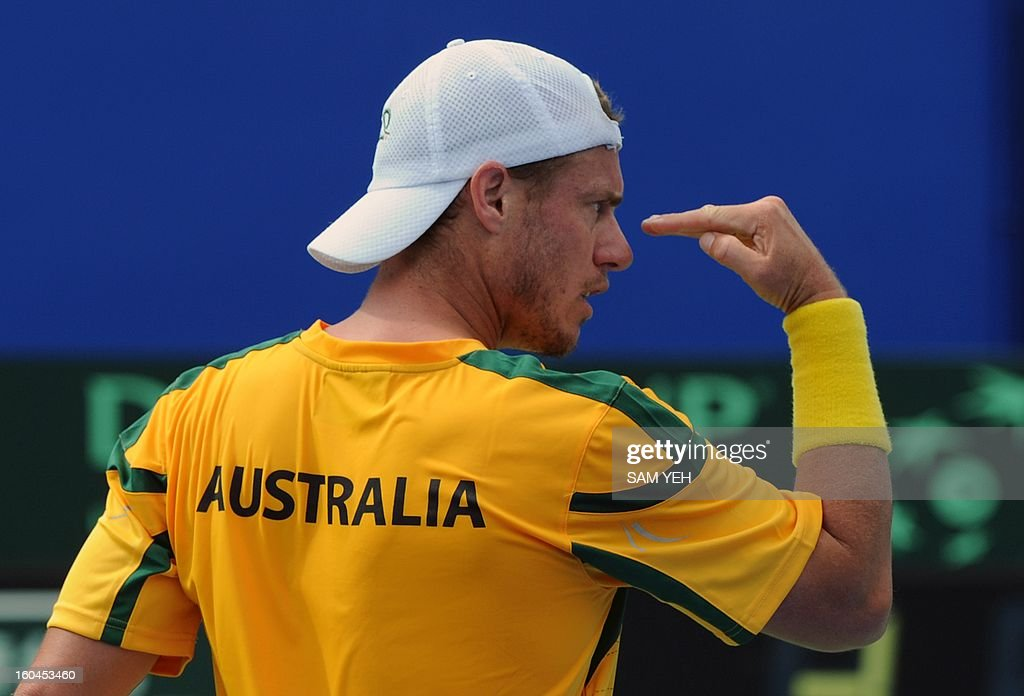 Lieyton Hewitt of Australia reacts in his game against Taiwan's Yang Tsung-hua during the Asia/Oceania Zone group 1 Davis Cup in Kaohsiung city in southern Taiwan on February 1, 2013. AFP PHOTO / Sam Yeh