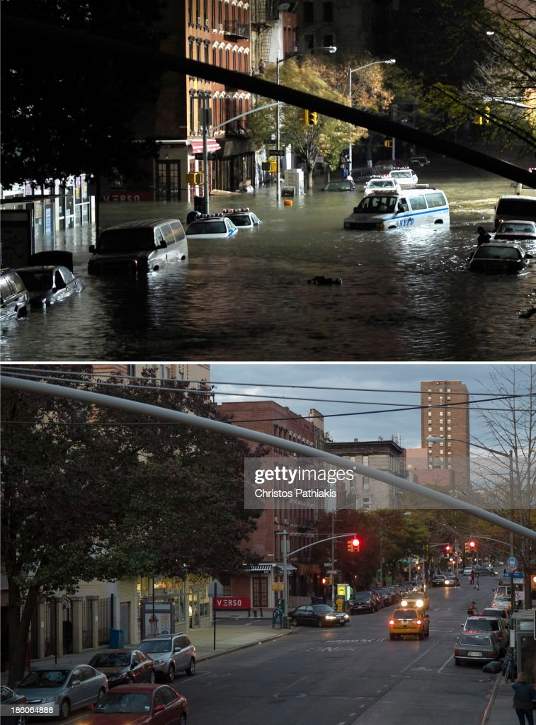 A general view of submerged cars on Ave. C and 7th st, after severe flooding caused by Hurricane Sandy, on October 29, 2012 in Manhattan, New York. Life along Avenue C in the East Village neighborhood has mostly recovered since Hurricane Sandy flooded the area nearly one year ago, on October 27, 2013 in New York City. Hurricane Sandy made landfall last year on October 29th near Brigantine, New Jersey and affected 24 states from Florida to Maine and cost the country an estimated $65 billion.