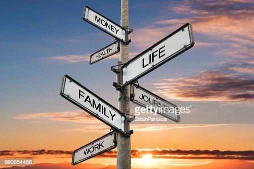 Vida balance opciones poste indicador, con fondos de cielo de amanecer : Foto de stock