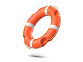A life buoy for safety at sea, isolated on white background. 3d rendering of orange lifebuoy ring