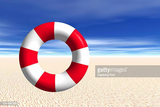 Life buoy standing upright on beach, 3D graphics