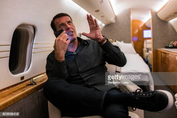 Life coach and business guru Tony Robbins is photographed for Money Magazine on March 17 at his home in Palm Beach Florida Robbins squeezing in some...